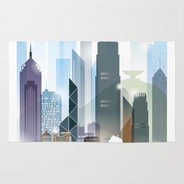 The city skyline of Hong Kong Rug