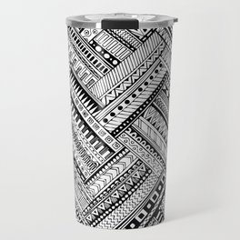 Tribal Ethnic Style  Black & White Travel Mug