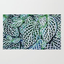 Tropical Leaves Fittonia Nerve Plant #watercolor #decor #society6 #pattern Rug