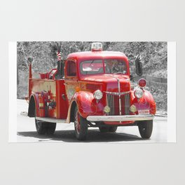 Red Fire Truck Photography Art Rug