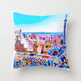Park Guell Watercolor painting Throw Pillow