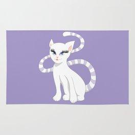 Pretty white cartoon kitty cat Rug