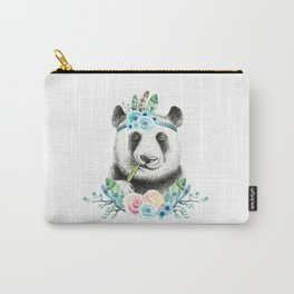 Watercolor Floral Spray Boho Panda Carry-All Pouch