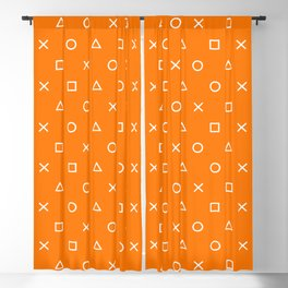 Orange Gamer Pattern Blackout Curtain