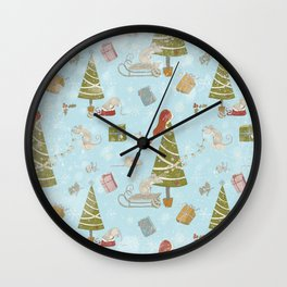 From Mice And Christmas - Cute teal X-Mas Pattern Wall Clock