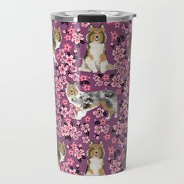 Shetland sheepdog sheltie cherry blossom floral flowers florals dog breed dogs Travel Mug