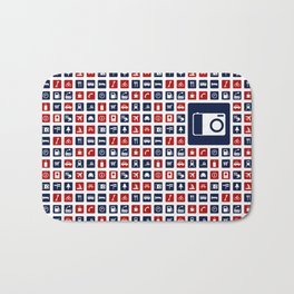 Travel Icons in RWB Bath Mat