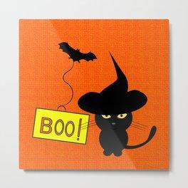 Cute cat on Halloween Metal Print
