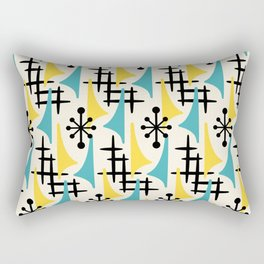 Mid Century Modern Atomic Wing Composition Turquoise & Yellow Rectangular Pillow