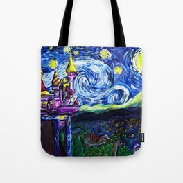 Starry night in small town Tote Bag