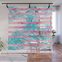 Modern pink turquoise tropical palm tree watercolor stripes pattern Wall Mural