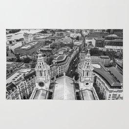 Black and White London Aerial View - United Kingdom Rug