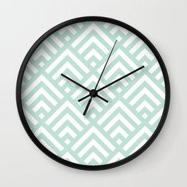 Turquoise Blue geometric art deco diamond pattern Wall Clock