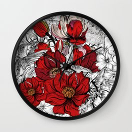 Boho Chic Red Poppy Flowers with Black and White Background Wall Clock