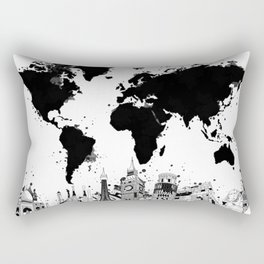 world map city skyline 4 Rectangular Pillow