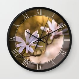 White magnolia flowers Wall Clock