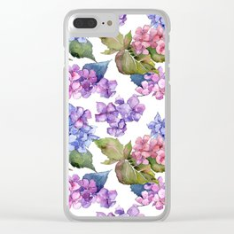 Hydrangea Pattern 03 Clear iPhone Case