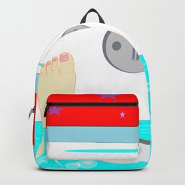 Soaking in the Tub with Red Wallpaper Backpack