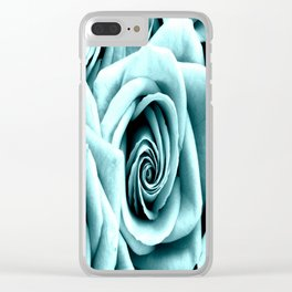 Blue Turquoise Roses Clear iPhone Case