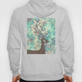 white tailed deer, white breasted nuthatches, & dogwood blossoms Hoody