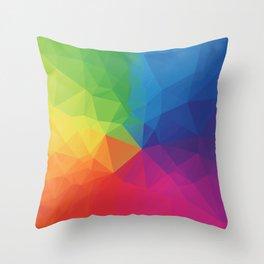 Rainbow Geometric Shapes Throw Pillow