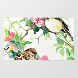 Sparrows and Apple Blossom Rug