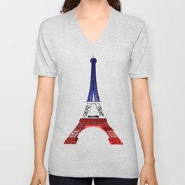 Eiffel Tower - Tour Eiffel - Blue White & Red Unisex V-Neck