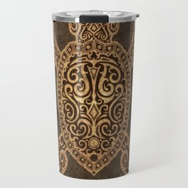 Intricate Vintage and Cracked Sea Turtle Travel Mug
