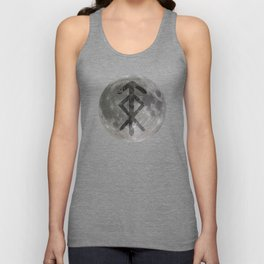 Viking bind rune 'Protection' on moon. Unisex Tank Top