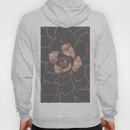 Rosegold  blossom on grey - Pink metal - effect flower Hoody