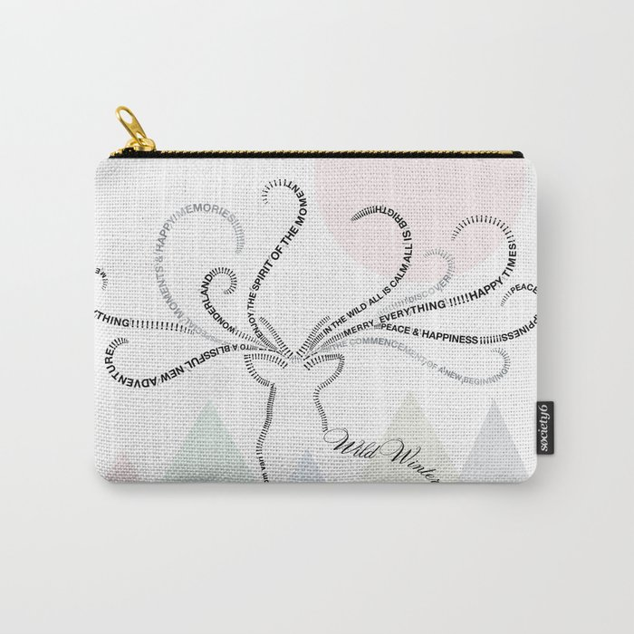 Abstrac Typographic Reindeer in The Mountains Carry-All Pouch