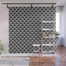 WiFi Pattern (white on black version) Wall Mural