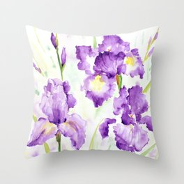 Watercolor Blue Iris Flowers Throw Pillow