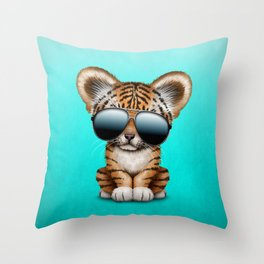 Cute Baby Tiger Wearing Sunglasses Throw Pillow