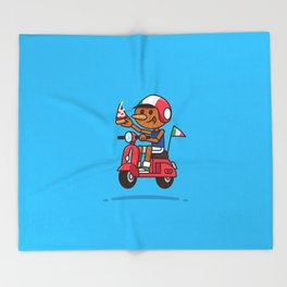 Italy! Pinocchio Eat Pizza and Ride Vespa Throw Blanket