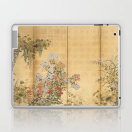 Japanese Edo Period Six-Panel Gold Leaf Screen - Spring and Autumn Flowers Laptop & iPad Skin