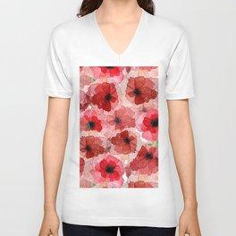 Pressed Poppy Blossom Pattern Unisex V-Neck