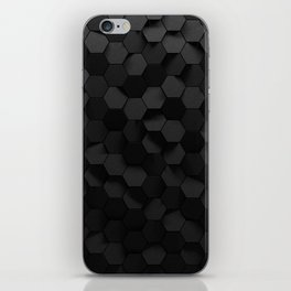 Black abstract hexagon pattern iPhone Skin