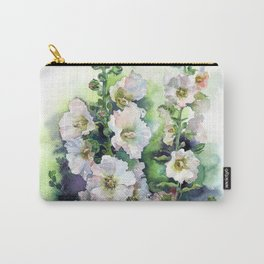 Watercolor Hollyhocks white flowers Carry-All Pouch