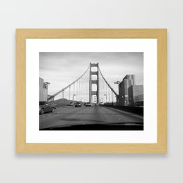 Driving the Golden Gate Bridge Framed Art Print