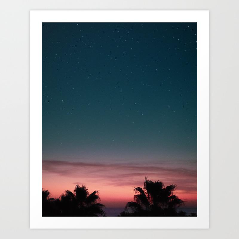 Starry Night Sunset Digital Print Spain Poster Mediterranean