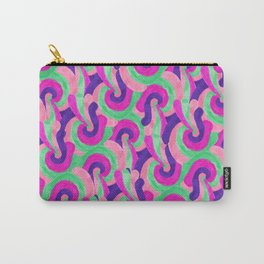 Retro Pink Purple Teal Painted Swirl Pattern Carry-All Pouch
