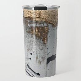 Still: an abstract mixed media piece in black, white, and gold by Alyssa Hamilton Art Travel Mug