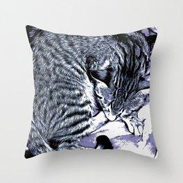 Cute Tabby Kitten Nap Throw Pillow