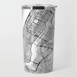 New York City Neutral Map Art Print Travel Mug