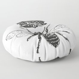 Queen Bee | Vintage Bee with Crown | Black and White | Floor Pillow