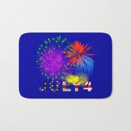 America 4th of July Fireworks Bath Mat