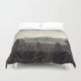 Snow capped Sierras Duvet Cover