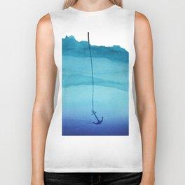 Cute Sinking Anchor in Sea Blue Watercolor Biker Tank