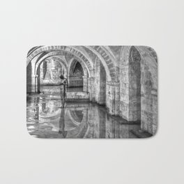 Winchester Cathedral Crypt - Black and White Bath Mat